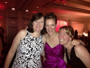 Dancing at Harlequin party with editor Flo Nicoll and Aimee Carson.