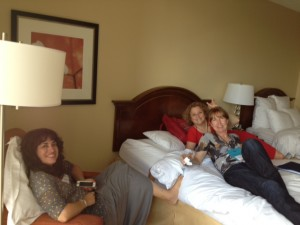 Fun in the hotel room with best roomie ever, Jennifer Probst (seated) and Abbi Wilder and Aimee Carson.