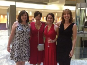 On my way to the Harlequin Party with Adrienne Giordano, Kelsey Browning, and Aimee Carson!